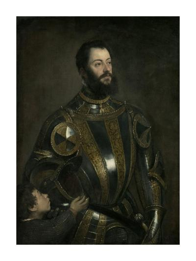 Portrait of Alfonso d'Avalos, Marchese del Vasto, in Armor with a Page-Titian (Tiziano Vecellio)-Art Print