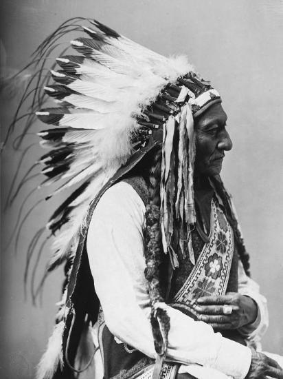 Portrait of an American Indian Chief--Photographic Print