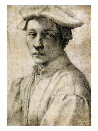 Portrait of Andrea Quaratesi, Around 1532, Black Chalk on Paper-Michelangelo Buonarroti-Giclee Print