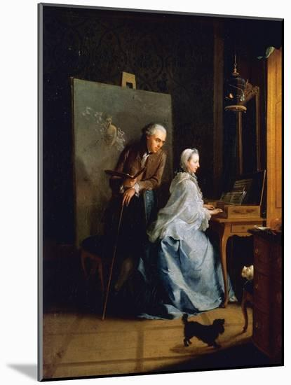 Portrait of Artist and His Wife at Spinet-Johann Heinrich Tischbein-Mounted Giclee Print