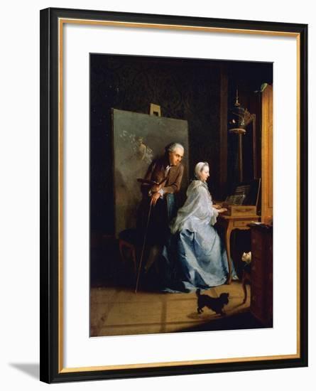 Portrait of Artist and His Wife at Spinet-Johann Heinrich Tischbein-Framed Giclee Print