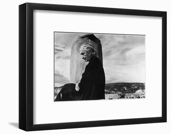 Portrait of Artist Georgia O'Keeffe Sitting on the Roof of Her Ghost Ranch Home-John Loengard-Framed Premium Photographic Print