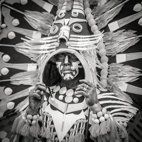 Portrait of Ati-atihan festival participant, Kalibo, Aklan, Western Visayas, Philippines-Jason Langley-Photographic Print