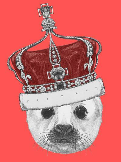 Portrait of Baby Fur Seal with Crown. Hand Drawn Illustration.-victoria_novak-Art Print
