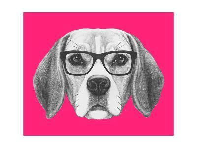 Portrait of Beagle Dog with Glasses. Hand Drawn Illustration.-victoria_novak-Art Print