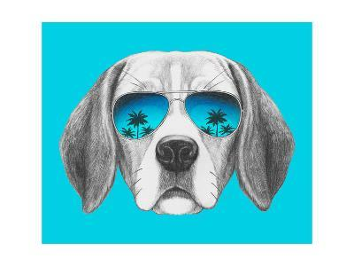 Portrait of Beagle Dog with Mirror Sunglasses. Hand Drawn Illustration.-victoria_novak-Art Print