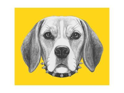 Portrait of Beagle Dog with Sunglasses and Collar. Hand Drawn Illustration.-victoria_novak-Art Print