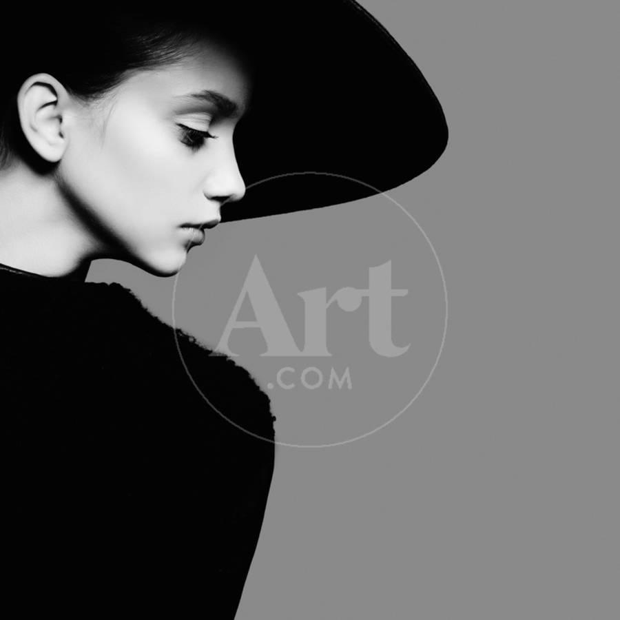 Portrait of beautiful girl in hat in profile posing in studio black and white photography photographic print by yuliya yafimik art com