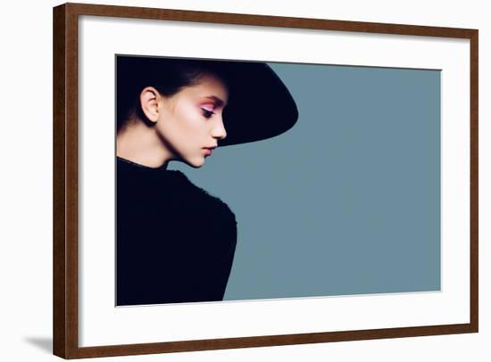 Portrait of Beautiful Girl in Hat in Profile, Posing in Studio-Yuliya Yafimik-Framed Photographic Print