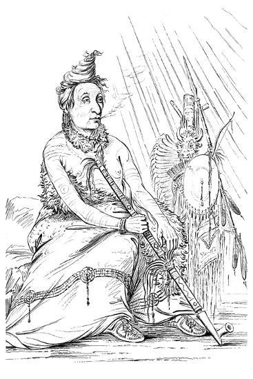 Portrait of 'Black Moccasin, Chief of the Minnetarees, 1841-Myers and Co-Giclee Print