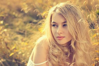 Portrait of Blonde Woman on Nature Background-brickrena-Photographic Print
