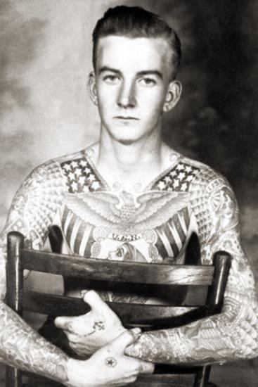 Portrait of Bob Shaw with Tattoos by Bert Grimm, C.1944--Photographic Print