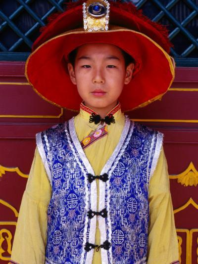 Portrait of Boy in Traditional Manchurian Costume, Chengde, China-Keren Su-Photographic Print