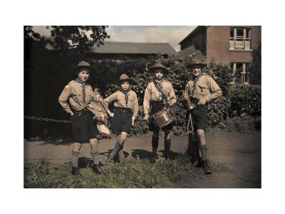 Portrait of Boy Scouts at Abinger Hammer on a Sunday Hike-Clifton R^ Adams-Photographic Print