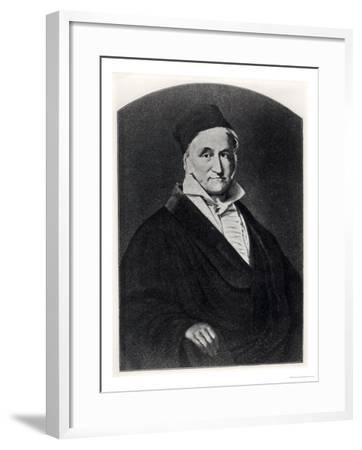 """Portrait of Carl Friedrich Gauss (1777-1855) from """"Handbuch Der Vermessungskunde""""--Framed Giclee Print"""