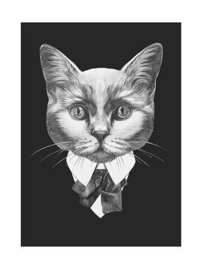 Portrait of Cat in Suit. Hand Drawn Illustration.-victoria_novak-Art Print
