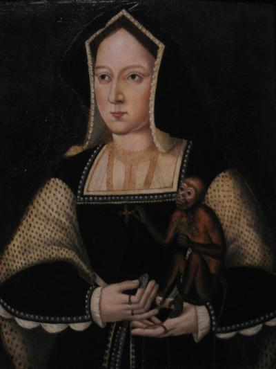 Portrait of Catherine of Aragon, with Her Pet Monkey (Copy after Lucas Horenbou), Ca 1530--Giclee Print