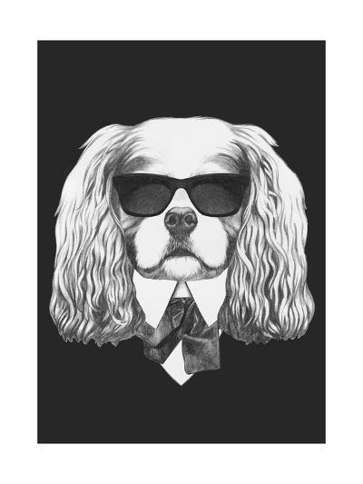 Portrait of Cavalier King Charles Spaniel in Suit. Hand Drawn Illustration.-victoria_novak-Art Print