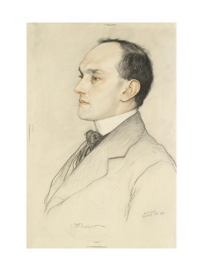 Portrait of Charles Francis Bell, 1913 (Coloured Crayons on a Pale Ochre Preparation)-William Strang-Giclee Print