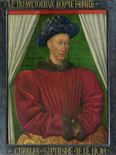 Portrait of Charles VII, King of France, circa 1445-50-Jean Fouquet-Giclee Print