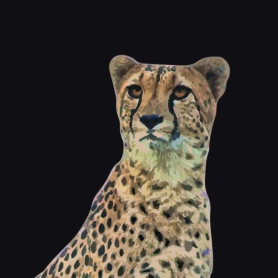 Portrait of Cheetah Sitting, Vector Illustration-Jan Fidler-Photographic Print