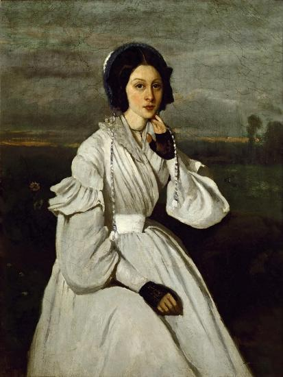 Portrait of Claire Sennegon-Jean-Baptiste-Camille Corot-Giclee Print