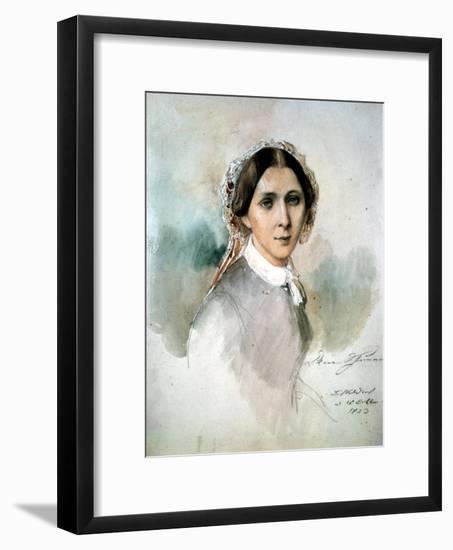 Portrait of Clara Schumann (1819-96) 1853-Joseph Bonaventure Laurens-Framed Giclee Print