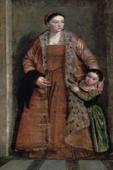 Portrait of Countess Livia Da Porto Thiene and Her Daughter, C1551-Paolo Veronese-Giclee Print