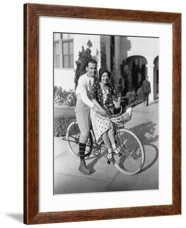 Portrait of Couple on Bicycle Together--Framed Photo