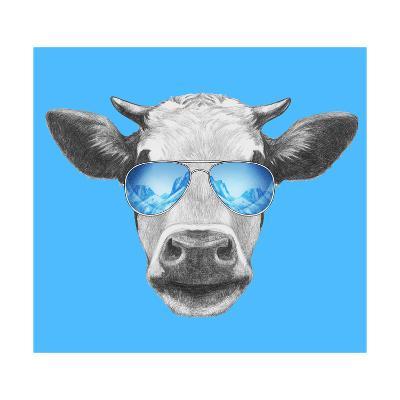 Portrait of Cow. Hand Drawn Illustration.-victoria_novak-Art Print