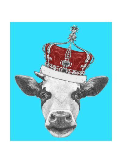 Portrait of Cow with Crown. Hand Drawn Illustration.-victoria_novak-Art Print