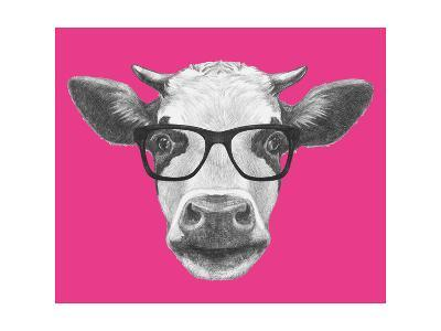 Portrait of Cow with Glasses. Hand Drawn Illustration.-victoria_novak-Art Print