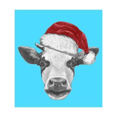 Portrait of Cow with Santa Hat and Sunglasses. Hand Drawn Illustration.-victoria_novak-Art Print