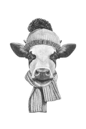 Portrait of Cow with Scarf and Hat. Hand Drawn Illustration.-victoria_novak-Art Print