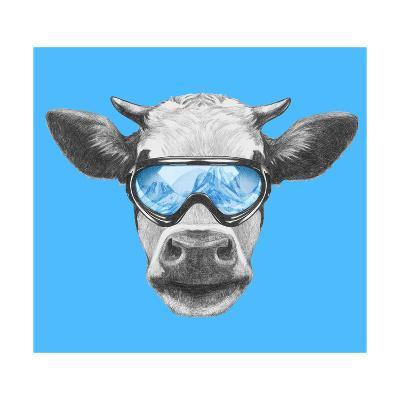 Portrait of Cow with Ski Goggles. Hand Drawn Illustration.-victoria_novak-Art Print