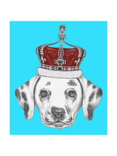 Portrait of Dalmatian Dog with Crown. Hand Drawn Illustration.-victoria_novak-Art Print