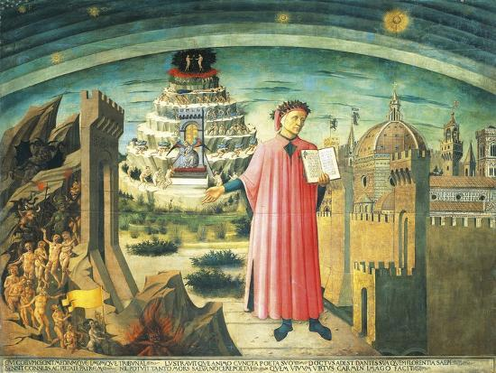 Portrait of Dante Alighieri, Florence and the Allegory of the Divine Comedy--Giclee Print