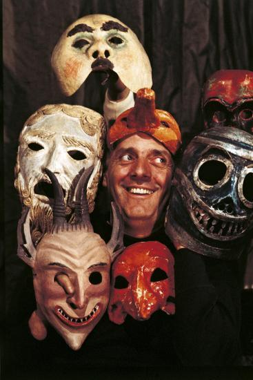 Portrait of Dario Fo with Masks--Photographic Print