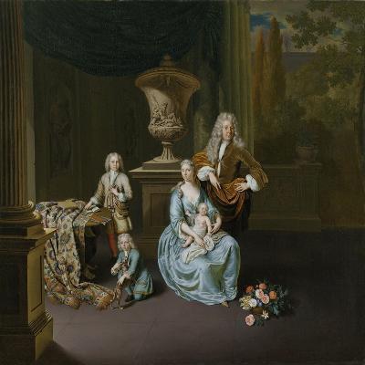 Portrait of Diederik, Baron Van Leyden Van Vlaardingen with His Wife and Three Sons-Willem Van Mieris-Art Print
