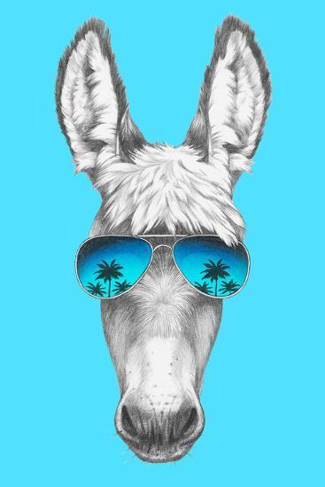 Portrait of Donkey with Mirror Sunglasses. Hand Drawn Illustration.-victoria_novak-Art Print