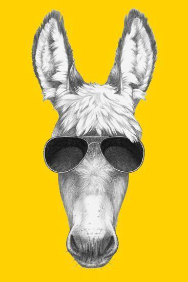 Portrait of Donkey with Sunglasses. Hand Drawn Illustration.-victoria_novak-Art Print