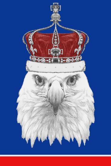 Portrait of Eagle with Crown. Hand Drawn Illustration.-victoria_novak-Art Print