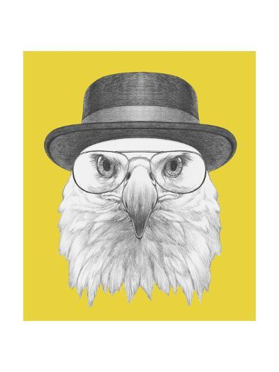 Portrait of Eagle with Hat and Glasses. Hand Drawn Illustration.-victoria_novak-Art Print