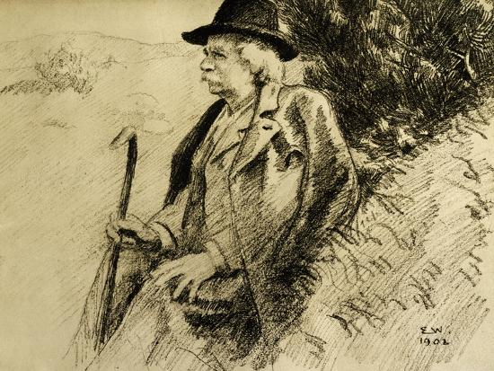 Portrait of Edvard Grieg in Countryside--Giclee Print