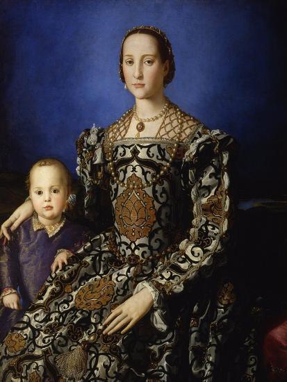 Portrait of Eleanor of Toledo with Her Son Giovanni, Ca 1545-Agnolo Bronzino-Premium Giclee Print