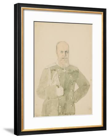 Portrait of Emperor Alexander III (1845-1894) (Pencil and W/C on Paper)-Mihaly von Zichy-Framed Giclee Print