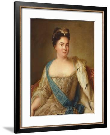 Portrait of Empress Catherine I (1684-1727)-Jean-Marc Nattier-Framed Giclee Print