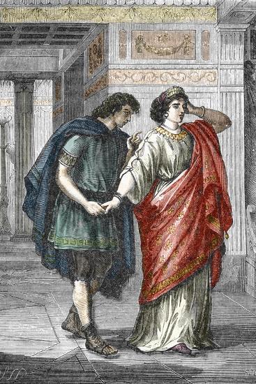 Portrait of Empress Valeria Messalina with Her Lover Gaius Silius, 1St Century--Giclee Print