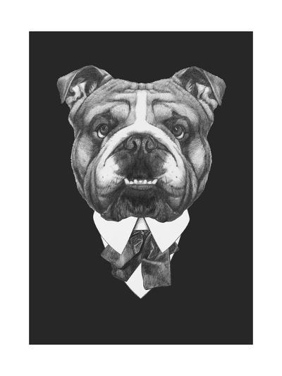 Portrait of English Bulldog in Suit. Hand Drawn Illustration.-victoria_novak-Art Print