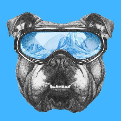 Portrait of English Bulldog with Ski Goggles. Hand Drawn Illustration.-victoria_novak-Art Print